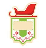 Christmas Label Icon Flat Frame with Sledge on White Stock Photography