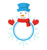 Christmas Label Icon Flat with Snowman  on White Royalty Free Stock Photo