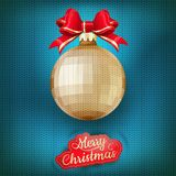 Christmas label on a knitted background. EPS 10. Vector file included stock illustration