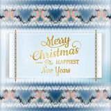 Christmas label with knitted pattern. EPS 10. Christmas label with knitted pattern and label. EPS 10 vector file included royalty free illustration