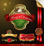Christmas label with lovely winter landscape Royalty Free Stock Photos