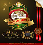 Christmas label with lovely winter landscape Stock Photos