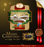 Christmas label with lovely winter landscape Stock Images