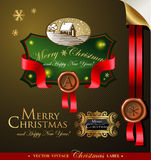 Christmas label with lovely winter landscape Royalty Free Stock Photography