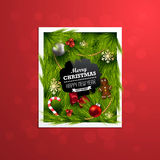 Christmas Label Made of Pine Branches Royalty Free Stock Images