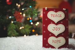 Christmas label with massages of peace, joy and hope Royalty Free Stock Images