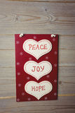 Christmas label with massages of peace, joy and hope Stock Photo