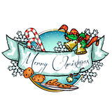 Christmas label with ribbon banner Stock Image