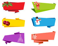 Christmas Label Ribbon Banner Vector Stock Image