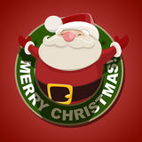 Christmas label with Santa Claus Stock Images