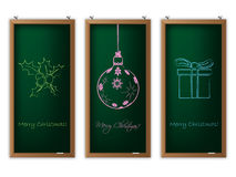 Christmas label set with christmas decorations Stock Photos