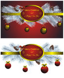 Christmas label set with golden decor Stock Photos