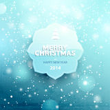 Christmas label. With snow background Stock Image