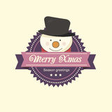 Christmas label with a snowman Royalty Free Stock Images