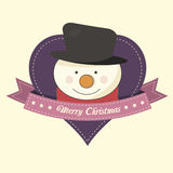 Christmas label with a snowman Stock Images