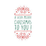 Christmas label with text on white background Stock Photo
