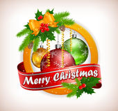 Christmas Label With Balls & Text Stock Images