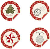Christmas labels. Curl vintage Christmas labels for special event Royalty Free Stock Photo