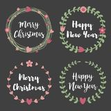 Christmas Labels and Badges. Set of floral wreath frame for Merr Stock Image