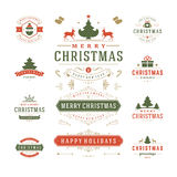 Christmas Labels and Badges Vector Design stock illustration