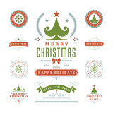 Christmas Labels and Badges Vector Design Stock Images