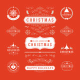 Christmas Labels and Badges Vector Design Stock Photography