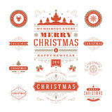 Christmas Labels and Badges Vector Design Stock Photos