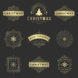 Christmas labels and badges vector design elements set. stock photo