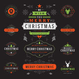 Christmas Labels and Badges Vector Design Elements Set. Royalty Free Stock Image