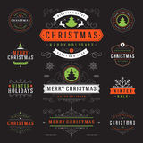 Christmas Labels and Badges Vector Design Elements Set. Merry Christmas and Holidays Wishes Retro Typography Greeting Cards, Posters and Flyers, Decoration Stock Photos