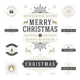 Christmas Labels and Badges Vector Design Elements Set. Stock Photos