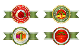 Christmas labels budges logo or sticker. Royalty Free Stock Photo