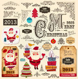 Christmas Labels and Christmas Ornaments Stock Images