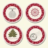 Christmas labels collection Royalty Free Stock Images