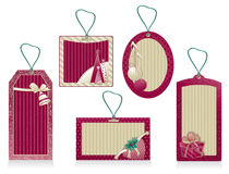 Christmas labels color burgundy Stock Photo