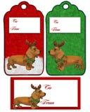 Christmas labels Dachshund dog stock image