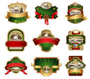Christmas labels with lovely winter landscape Stock Photo