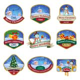 Christmas labels with lovely winter landscapes. And ornaments for greeting cards, banners, presentations, decorations. Easy to edit all pieces are separate Stock Photo