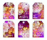 Christmas labels with origami snowflakes. Neon blue polygonal Festive collection. Christmas labels with origami snowflakes. Neon purple polygonal Festive Stock Image