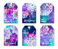 Christmas labels with origami snowflakes. Neon blue polygonal Festive collection. Ready-to-use gift tags. Xmas and New Year Set of 6 printable origami holiday Royalty Free Stock Photo