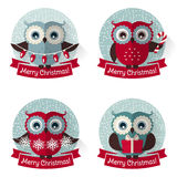Christmas labels with owls and ribbons. Vector set. Stock Photos