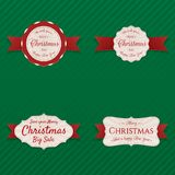 Christmas Labels with red Ribbons Collection. On green striped Background. Vector Illustration Royalty Free Stock Photo