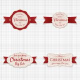 Christmas Labels with red Ribbons Set. On white textile Background. Vector Illustration Royalty Free Stock Photos