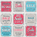 Christmas  labels with sale offer, vector. Illustration Royalty Free Stock Photo