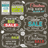 Christmas  labels with sale offer, vector Stock Images