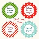 Christmas labels in shabby chic style as polka dot ,plaid and striped christmas balls Royalty Free Stock Photography