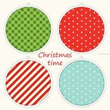 Christmas labels in shabby chic style as polka dot ,plaid and striped christmas balls Royalty Free Stock Photo