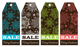 Christmas labels with stars, snowflakes and sale offer, vector Stock Photos