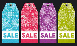 Christmas labels with stars, snowflakes and sale offer, vector Royalty Free Stock Image
