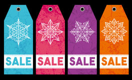 Christmas labels with stars and snowflakes, vector Stock Photography